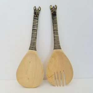 Pair of Wooden Zebra Salad Serving Utensils